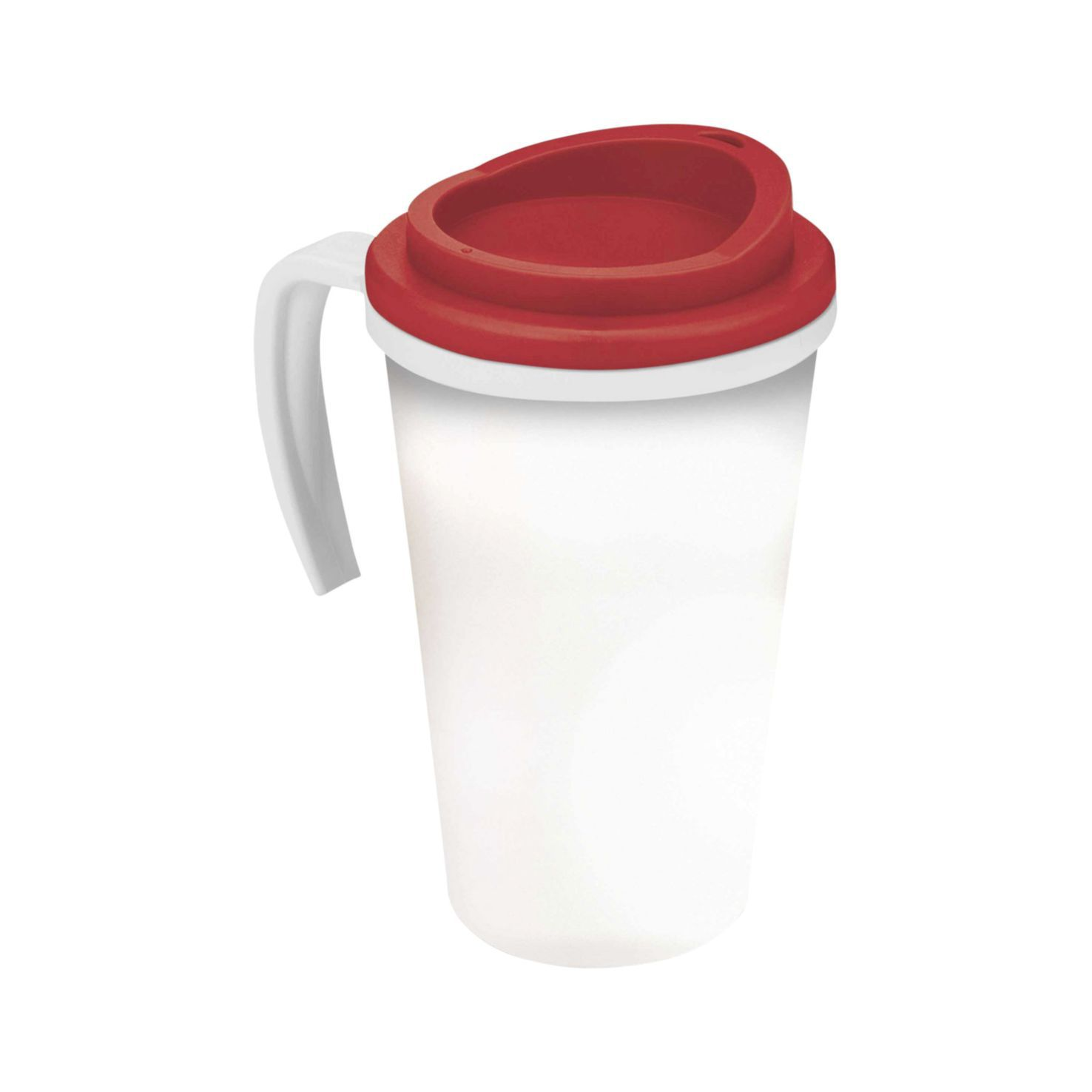 Wit / rood Thermosbeker to go | Met handvat | 350 ml