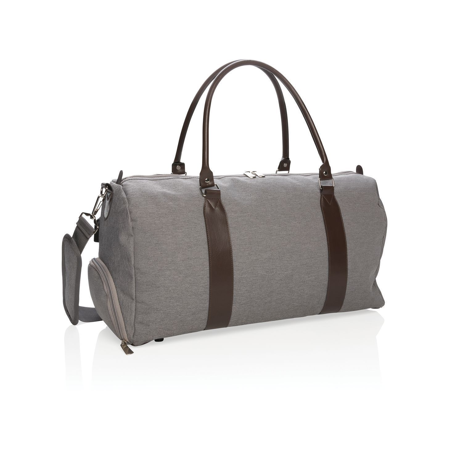 Grijze Luxe weekendtas | USB output | Polyester | 20 L