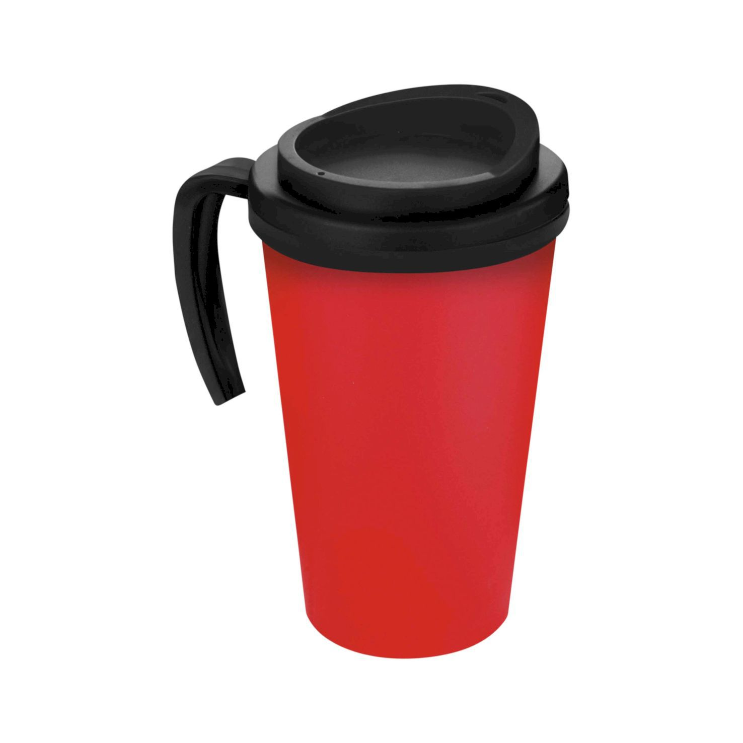 Rood / zwart Thermosbeker to go | Met handvat | 350 ml