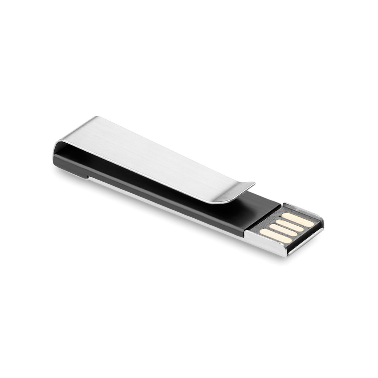 Zwarte USB stick | Metalen clip | 1GB