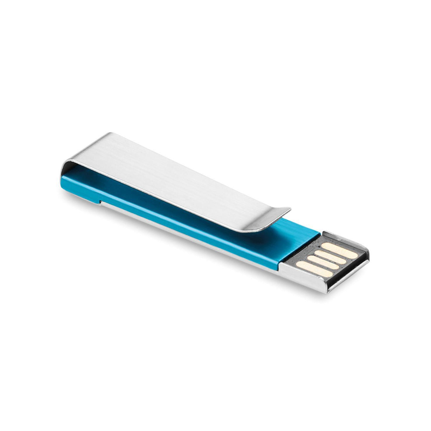 Blauwe USB stick | Metalen clip | 16GB