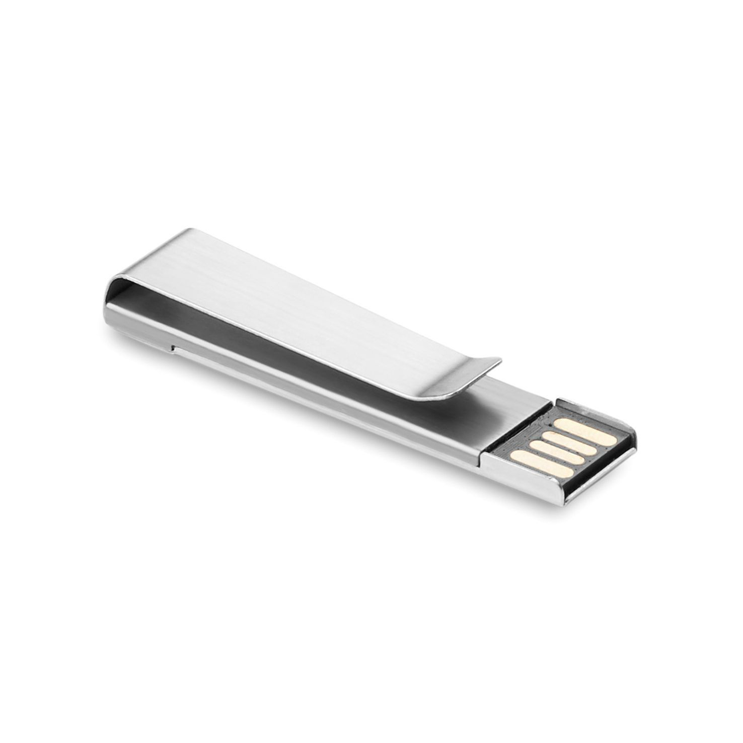 Zilvere USB stick | Metalen clip | 8GB