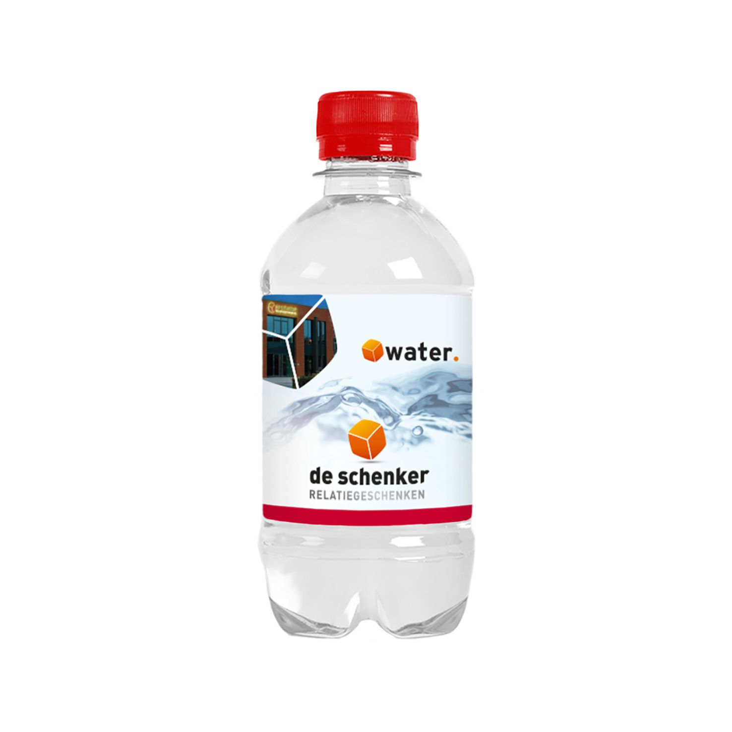 Rode Waterflesjes bedrukken | 330 ml | Platte dop