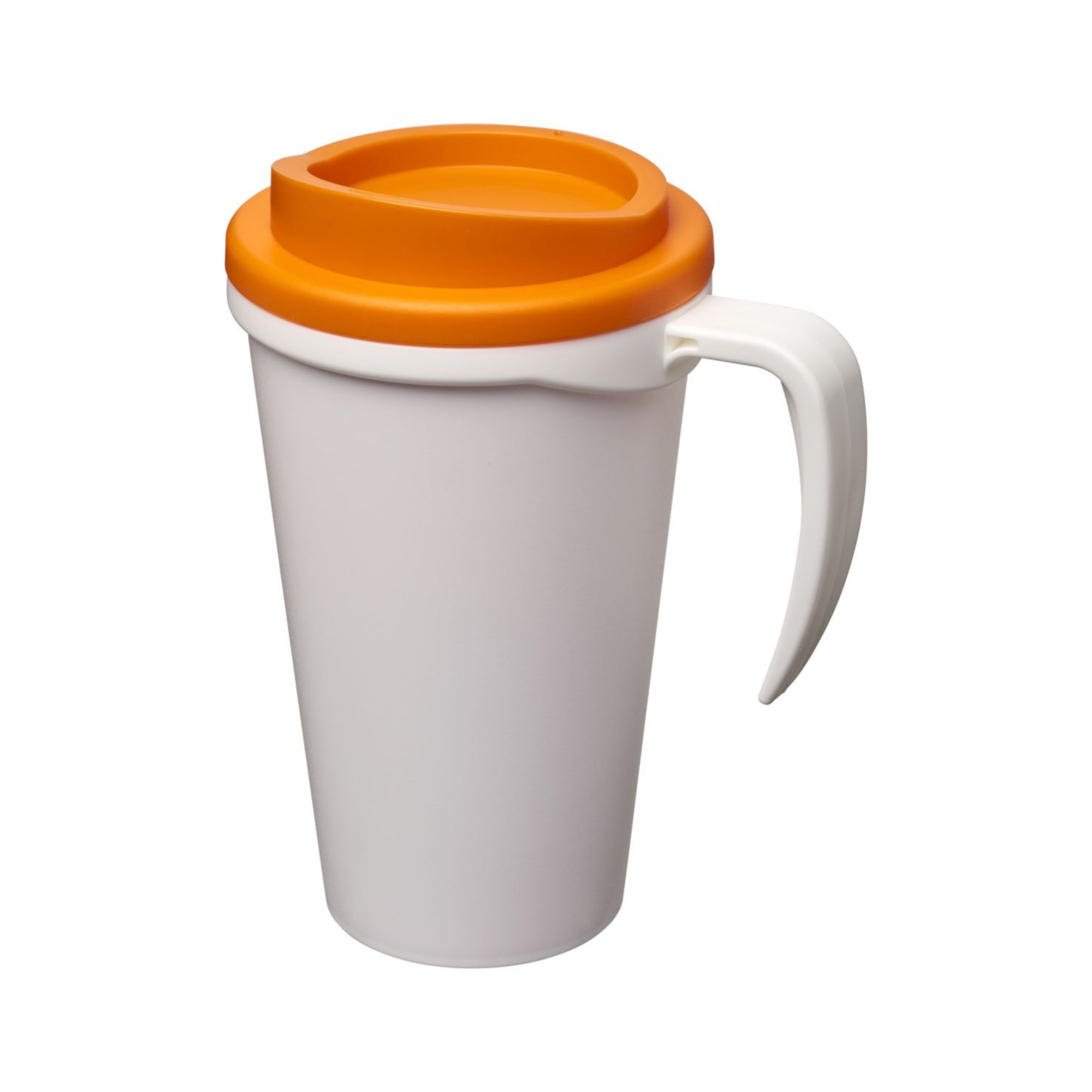 Wit / oranje Thermosbeker to go | Met handvat | 350 ml