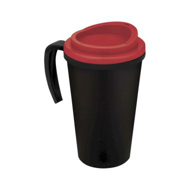 Zwart / rood Thermosbeker to go | Met handvat | 350 ml