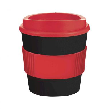 Zwart / rood Coffee to go beker | 250 ml