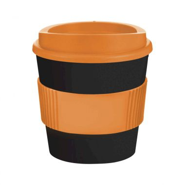 Zwart / oranje Coffee to go beker | 250 ml