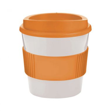 Wit / oranje Coffee to go beker | 250 ml