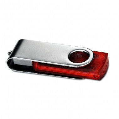 Rode USB stick transparant 4GB